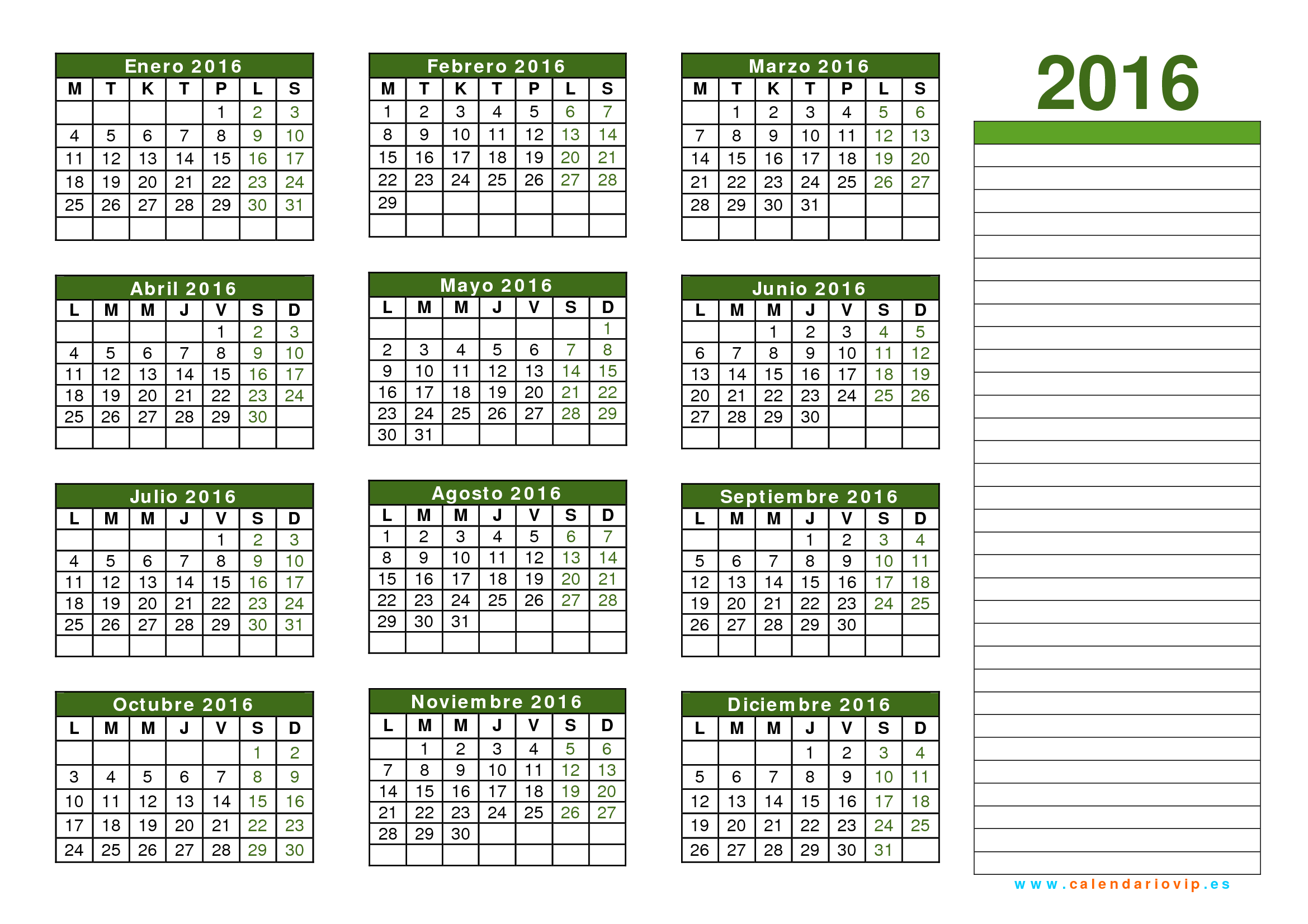 Calendarios 2016 | New Calendar Template Site