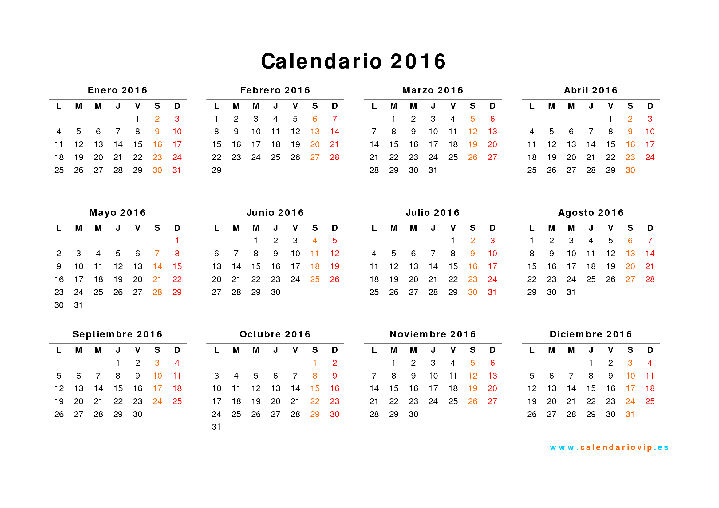 Calendario 2016 para imprimir gratis for Calendario junio 2016 para imprimir